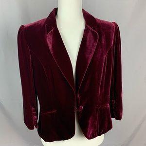 Ann Taylor Loft maroon velvet 3/4 length jacket